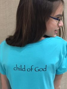 Girls Teal T-Shirt Back with Child of God